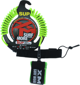 XM SUP Coiled Regular Ankle Leash 8' Green | Universo Extremo Boards Surf & Skate