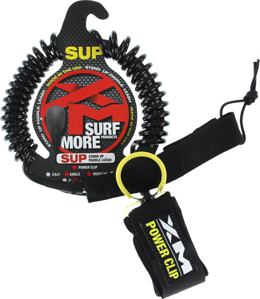 XM SUP Power-Clip Coiled Reg Ankle Leash 10' Black | Universo Extremo Boards Surf & Skate