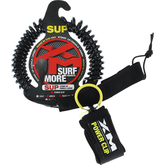 Surf More xM Sup Power-Clip Coiled Reg Ankle Leash 10' Black