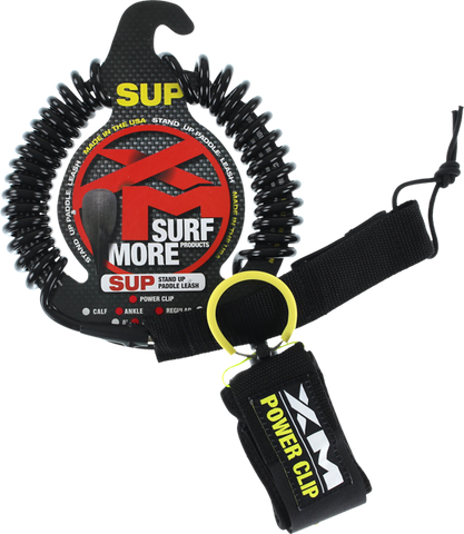 XM SUP Power-Clip Coiled Reg Ankle Leash 11' Black | Universo Extremo Boards Surf & Skate