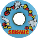 Seismic Cry Baby 64mm 88a Blue Skateboard Wheels (Set of 4) - Universo Extremo Boards