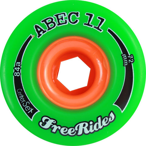 Abec 11 Freeride Centerset 72mm 78a Green Skateboard Wheels (Set Of 4) - Universo Extremo Boards
