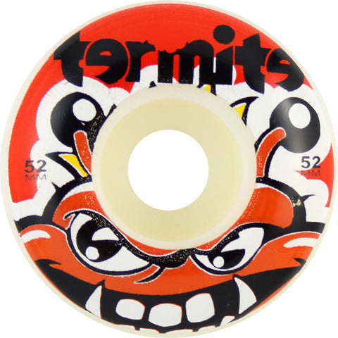 Termite Tommy White / Red Skateboard Wheels - 52mm (Set of 4) - Universo Extremo Boards