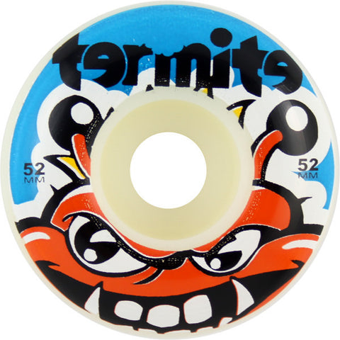 Termite Tommy White / Blue Skateboard Wheels - 52mm (Set of 4) - Universo Extremo Boards