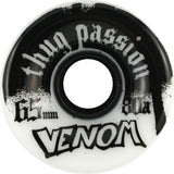 Venom Thug Passion 65mm 80a White/Black Skateboard Wheels (Set of 4) - Universo Extremo Boards