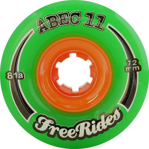Abec 11 Freeride Green Longboard Wheels - 72mm 81a (Set of 4) - Universo Extremo Boards