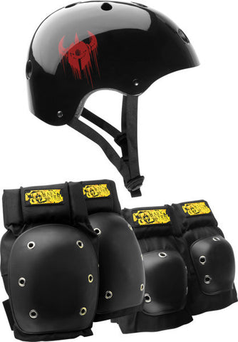Darkstar Drip/Elbow/Knee Combo S/M Black Skateboard Helmet| Universo Extremo Boards