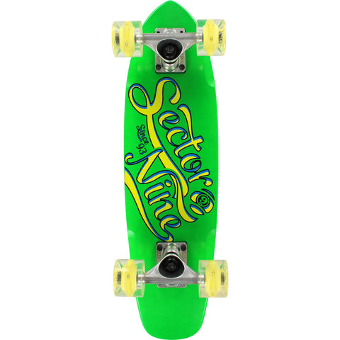 Sector 9 The Steady Glow Wheels Complete Skateboard - 6.75x25 Green/Yellow | Universo Extremo Boards Skate & Surf