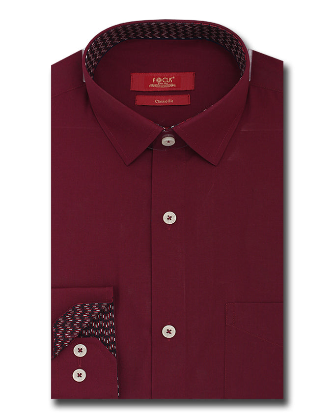 a1578aa6720 Maroon Cotton Classic-Fit Formal Shirt For Men – FocusClothing