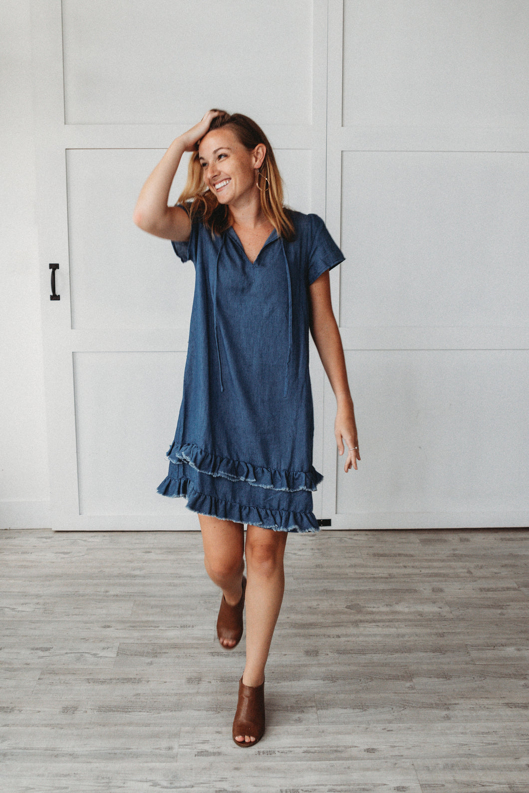Ruffled Denim Dress