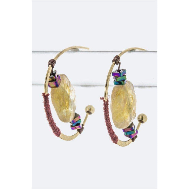 Iconic Wired Stone Hoop Earrings - CHARLI REBEL