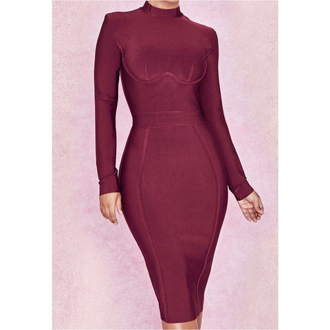 Vino Bandage Long Sleeve Dress - CHARLI REBEL