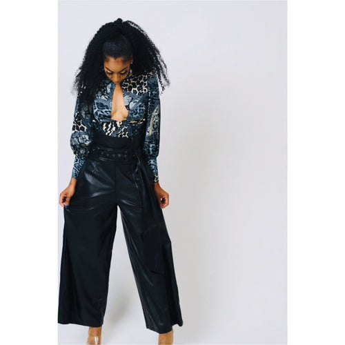 High Waist Vegan Leather Pants