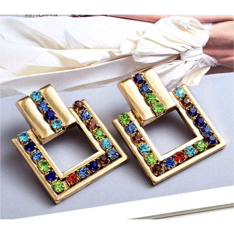 Gold-Tone Multi Color Earrings