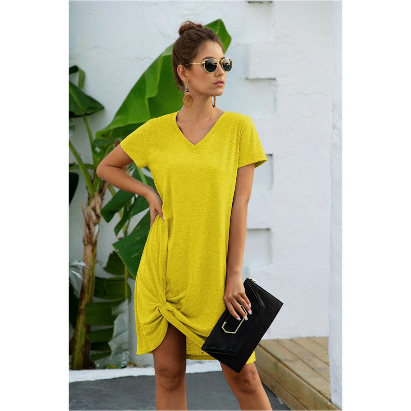V Neck T-Shirt Dresses