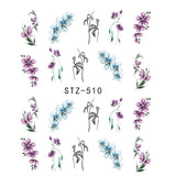 1 Sheets Colorful Stickers For Nails Purple Fantacy Flowers