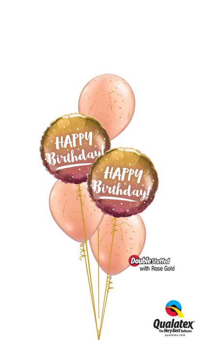 Ombre Gold and Rose Gold Happy Birthday Bouquet