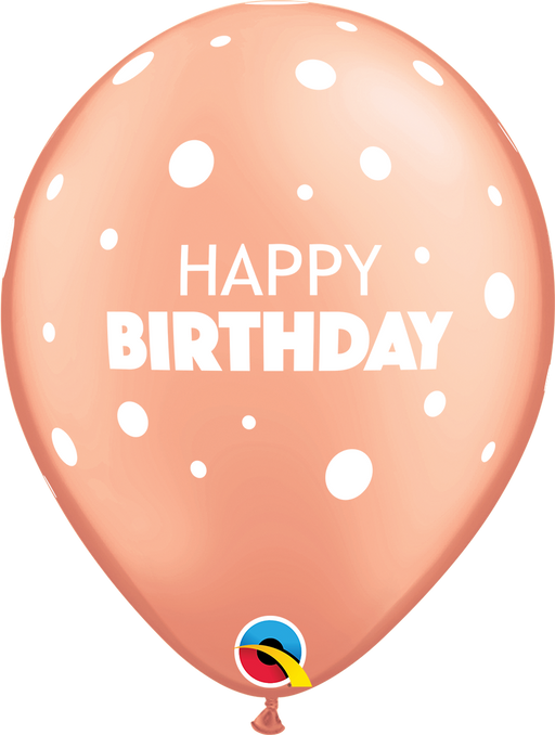 Happy Birthday Rose Gold Latex Balloon
