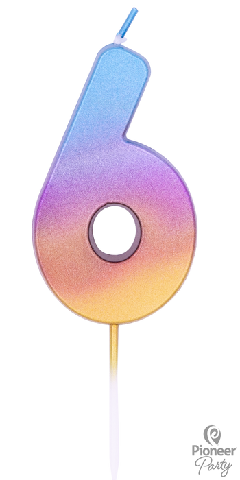 Blue, Purple and Gold Ombre Number Candle