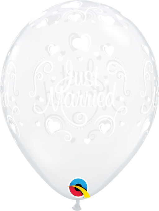 Just Married Latex Balloon (Clear)