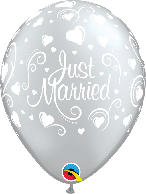 Just Married Latex Balloon (Silver)