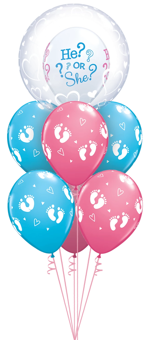 Luxury He Or She Gender Reveal Bubble Bouquet