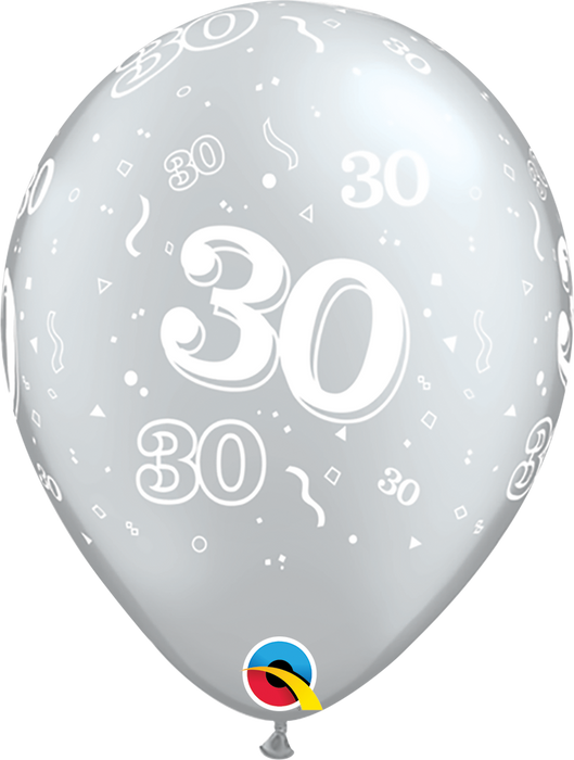 Age Silver Latex Balloons