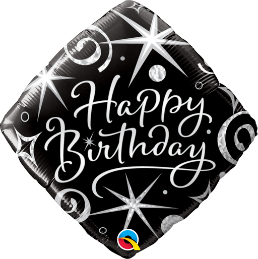 Birthday age 18 - 100 Black and silver Foil Balloon