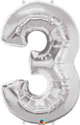 Number 1 -9 Foil Balloon (Silver)