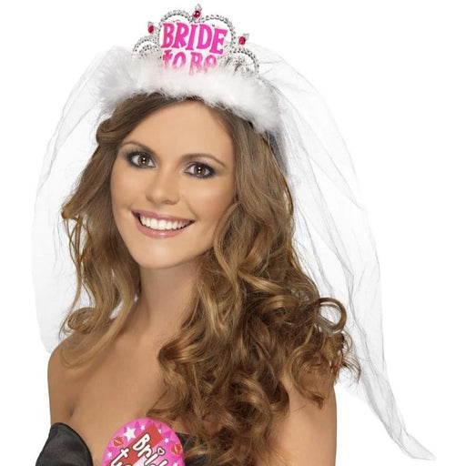 Bride To Be Tiara with Veil (White)