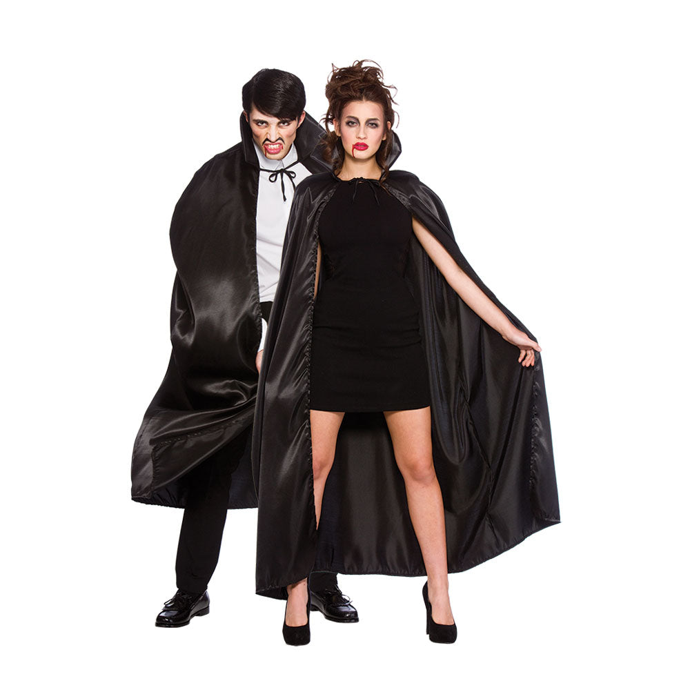 Deluxe Satin Cape with Collar (Black)