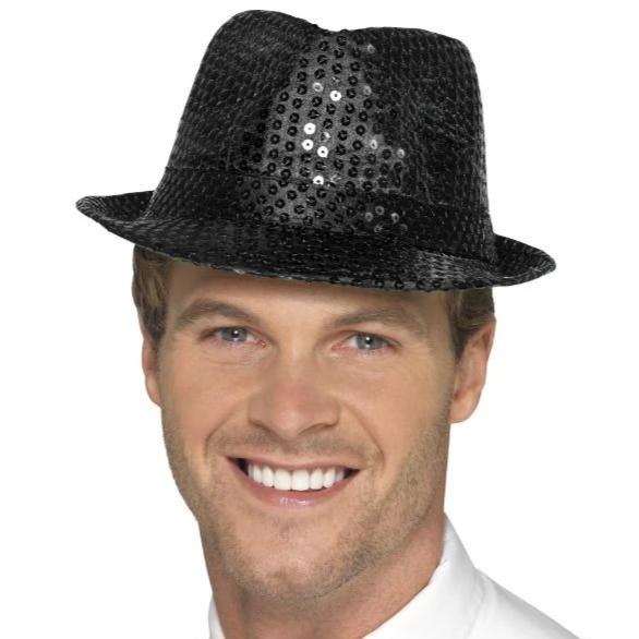 Sequin Trilby Hat (Black)