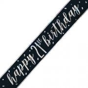 21st Black and Silver Happy Birthday Banner