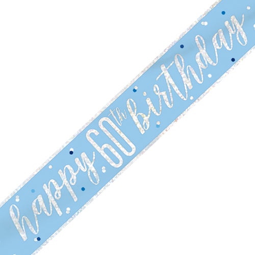 60th Blue and Silver Happy Birthday Banner