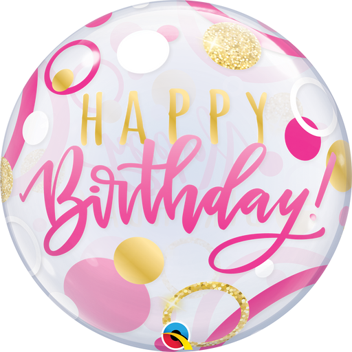 Happy Birthday Bubble Balloon (Pink & Gold)