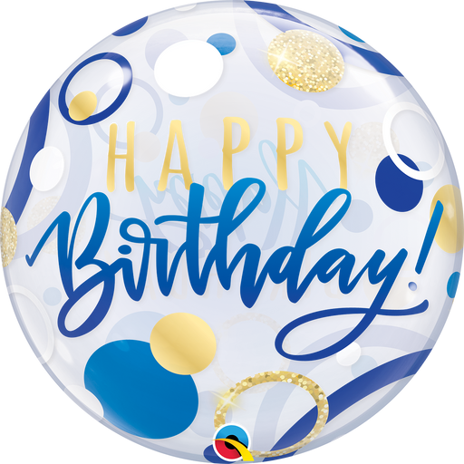 Happy Birthday Bubble Balloon (Blue & Gold)