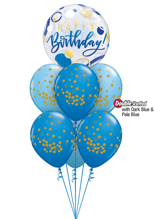 Luxury Happy Birthday Bubble Bouquet (Blue)