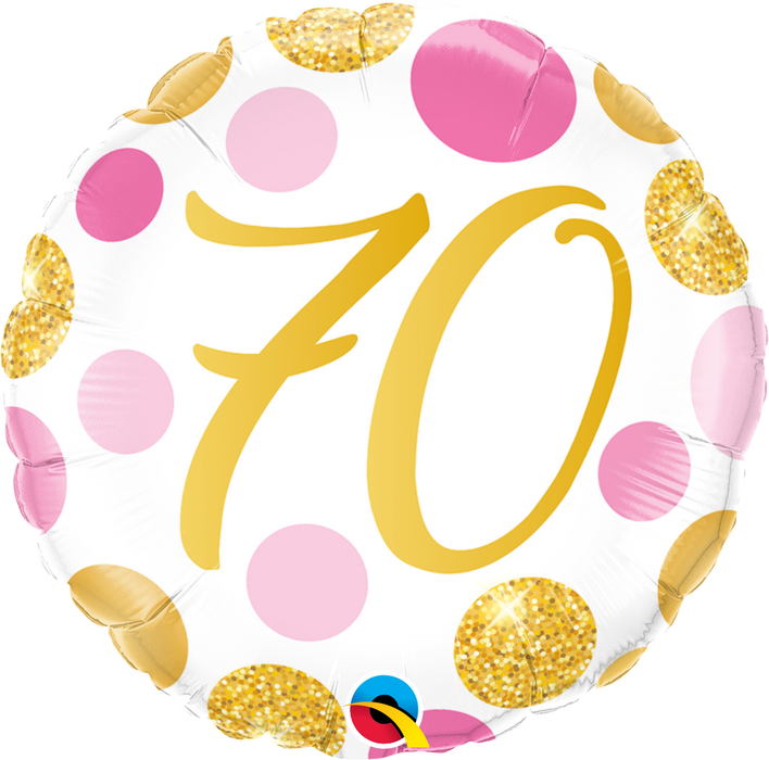 Age 16 -70  Birthday Foil Balloon (Pink & Gold)