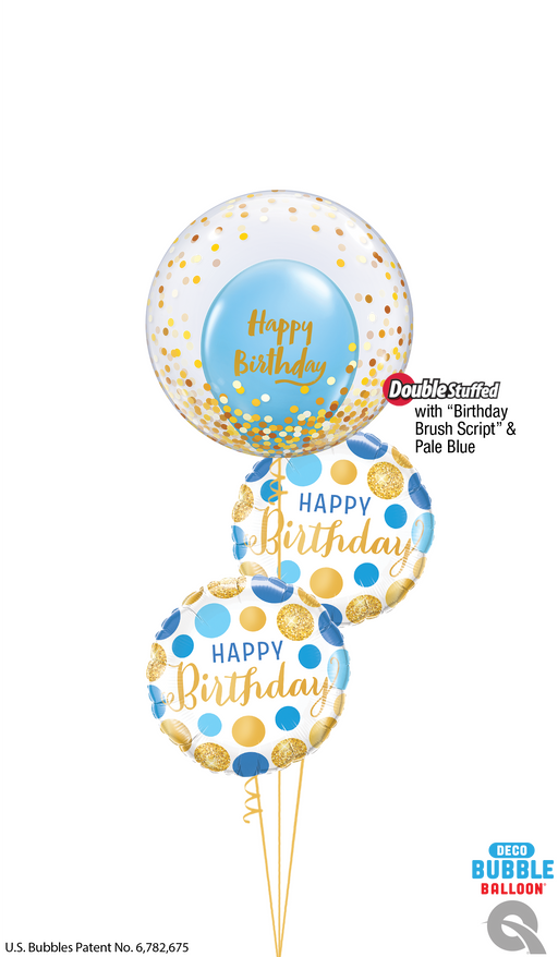 Happy Birthday Bubble Bouquet (Blue dot)
