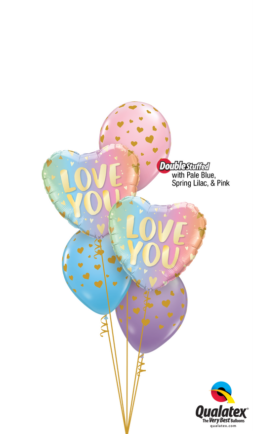 Love you ombre balloon cluster