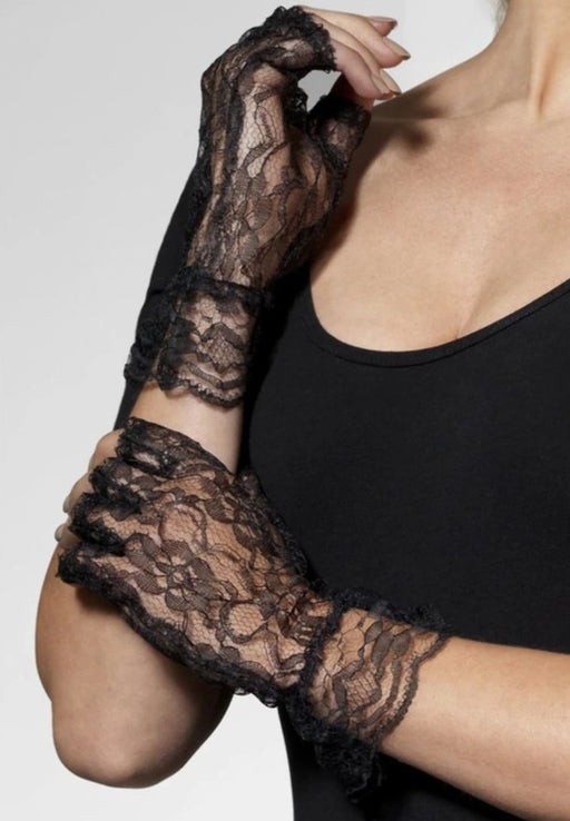 Fingerless Lace Gloves (Black)