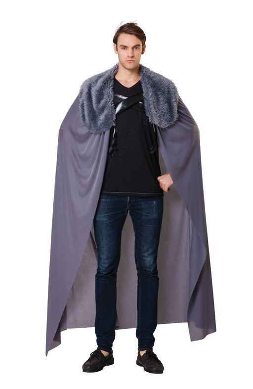 Fur collared grey cape