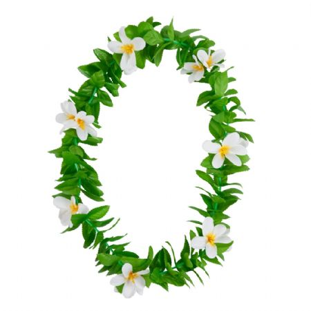 Green Leaf Lei With White Flowers (Haw-9459)