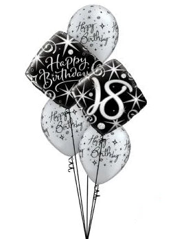 Happy Birthday Age Bouquet (Black & Silver)