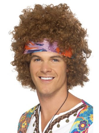 Hippy Afro With Headband And Peace Medallion (43235)