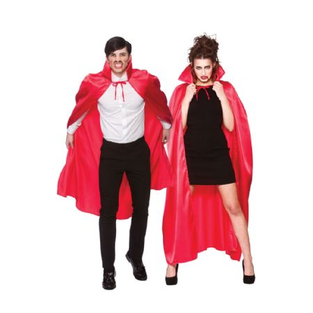 Red Satin Cape With Collar