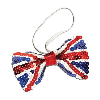 Union Jack Sequin Bow Tie (Ba908)