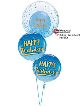 Confetti Happy Birthday Bubble Bouquet (Blue)