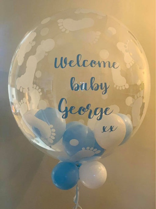 Personalised Baby Footprints Bubble Balloon