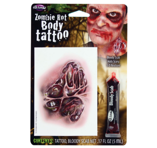 Zombie Rot tattoo with blood